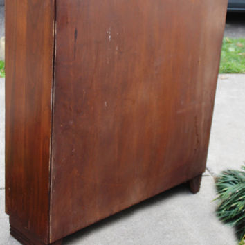 Antique Glass Doors, Book Case, Four Shelves, One Stationary Shelf, Two Adjustable , No Damage to Glass, Minimal Scratching to Varnish, Oak
