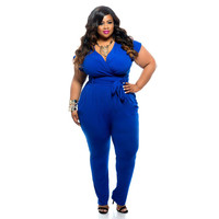 Blue Short Sleeve Waist Tie Jumpsuit