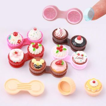Fashion 1PC Cartoon Cute Cream Cake Glasses Double Contact Lenses Box Contact Lens Case For Eyes Care Kit Holder Container Gift