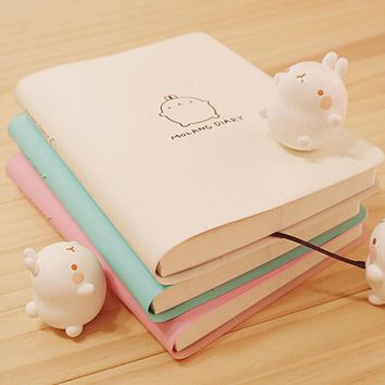 Cute Kawaii Cartoon Molang Rabbit Journal Notebook Diary 2018 2017 Planner Notepad for Kids Korean Stationery school supplies