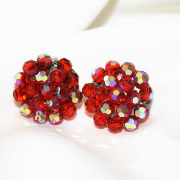 Vintage Red Earrings, Vintage Clip On Earrings, Austria Crystal, 1950s Jewelry
