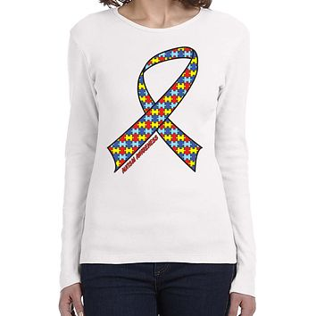 Ladies Autism Ribbon Long Sleeve Shirt