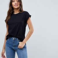 ASOS T-Shirt in Boyfriend Fit with Rolled Sleeve and Curved Hem at asos.com
