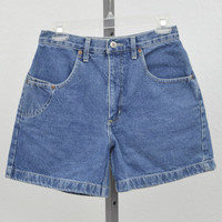 "Vintage 90s Chazzz High Waisted Denim Shorts, Blue Jean Shorts, Mid Thigh Shorts, High Rise Shorts 28"" Waist"