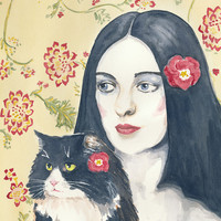 Original watercolour - Cat and Woman Watercolour Painting, Tuxedo Cat, Red Flowers, 11x14
