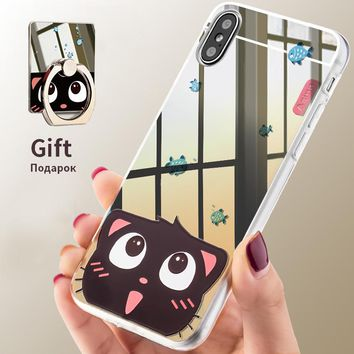 Asina Slim Mirror TPU Cases For iPhone X Cute Cartoon Patterned Case Mirror With Ring Holder Cover For iPhoneX Screen Protector
