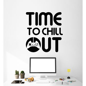 Vinyl Wall Decal Gaming Zone Gamer Phrase Chillout Joystick Teen Room Video Game Stickers Mural (g2660)