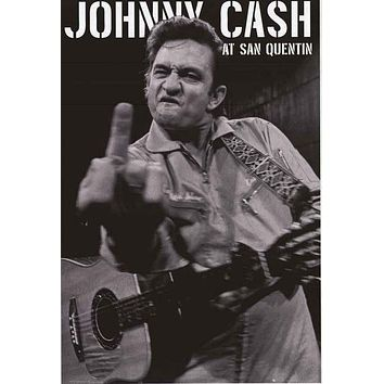 Johnny Cash Finger San Quentin Poster 24x36