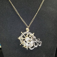Octopus necklace, nautical necklace, steampunk jewelry, steampunk necklace, starfish jewelry, starfish necklace. Ships wheel necklace