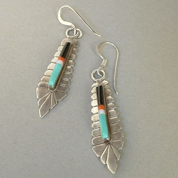 Vintage NATIVE American STERLING Silver Zuni Earrings MOSAIC Inlay Turquoise Coral c.1970s