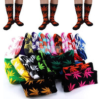 Hot Women Men Plantlife Marijuana Weed Maple Leaf Socks Cotton High Ankles Socks (Color: Leopard print) = 1930224772