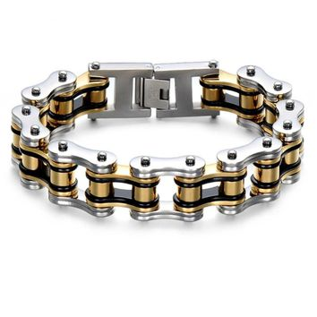 Men's Double Layer Heavy Solid Gold Black Bike Chain Bracelet for Men Stainless Steel Motorcycle Bicycle Bangle Male Jewelry
