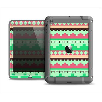 The Lime Green & Coral Tribal Ethic Geometric Pattern Apple iPad Air LifeProof Fre Case Skin Set