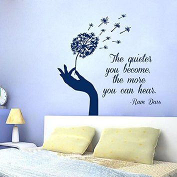 Wall Decals Vinyl Decal Sticker Wall Quote the Quieter You Become the More You Can Hear Girl Hand Holding Dandelion Flower Art Mural Home Interior Design Living Room Bedroom Decor