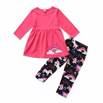 Newest Children Girls Suits Rose Dress Pink Tops+Rainbow Unicorn Pants Clothing Sets Baby Outfits Suits 2-6yrs