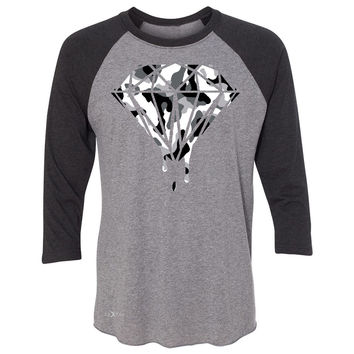 Zexpa Apparel™ Black n White Camo Dripping Diamond 3/4 Sleevee Raglan Tee Melting Logo Tee