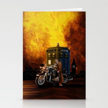 10th Doctor who with Big Motorcycle Stationery Cards by Three Second