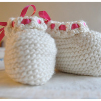 Knit Baby Booties Hand Made Cashmerino Wool Baby Girl 6m