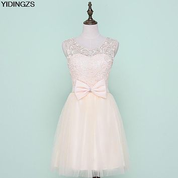 YIDINGZS Tulle Lace Short Prom Dresses Evening Dress Girl Lovely Club Prom Party Gown Bow Red Champagne