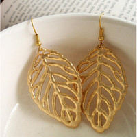 Ornate Golden Leaf Earrings by sodalex on Etsy