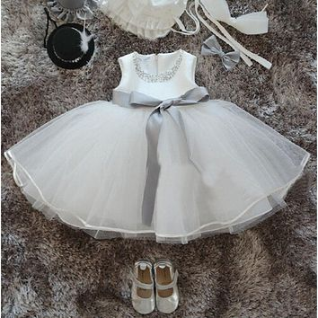High Quality Christening Costume For Newborn Baby Girl Evening Ball Gown Bow Dress Formal Occasion Clothing For Toddler Girls