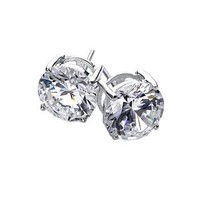 Bling Jewelry Basket Set Round CZ Mens Stud Earrings 925 Sterling Silver 7mm