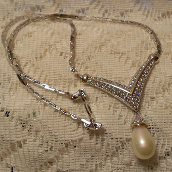 Vintage Christian Dior Rhinestone Choker Necklace