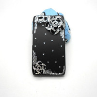 Handmade hard case for motorolla droid razr XT710: Bling flowers (customized are welcome)
