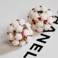 Flower Pearl Ball Rhinestone Earrings - LilyFair Jewelry