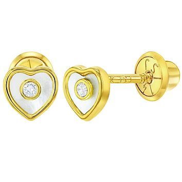 14k Yellow Gold Mother of Pearl Clear CZ Heart Screw Back Earrings Baby Girls