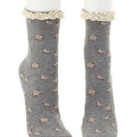 Crochet-Trim Floral Print Socks by Charlotte Russe - Gray Combo