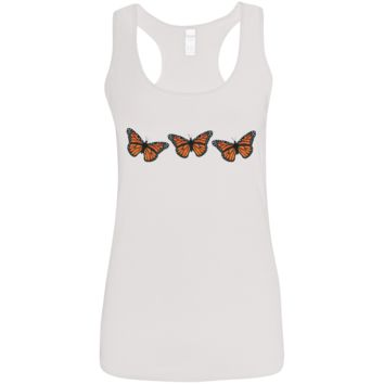 Three Monarch Butterflies Ladies' Softstyle Racerback Tank