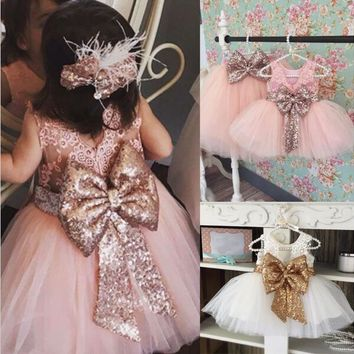 Tulle Ball Sleeveless Dresses Sequins Princess Children Baby Girl Clothing Lace Party Gown Fancy Dresses Formal Girl Birthday