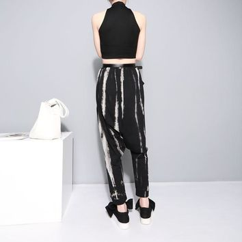 Korean Style Tie Dye Black Harem Pants