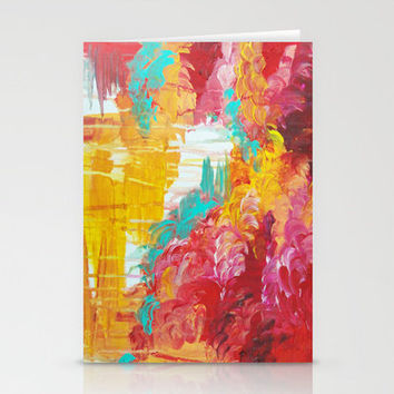 AUTUMN SKIES - Amazing Fall Colors Thunder Storm Rainy Sky Clouds Bold Colorful Abstract Painting Stationery Cards by EbiEmporium   Society6