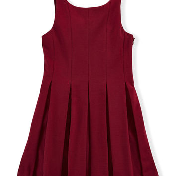 Sleeveless Pleated Ponte Dress, Monarch Red, Size 2T-6X,