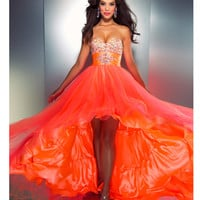 Mac Duggal Prom 2013 - Strapless Neon Orange Gown - Unique Vintage - Cocktail, Pinup, Holiday & Prom Dresses.