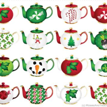 10 Christmas Tea Cups and Teapots Holiday Greeting Cards