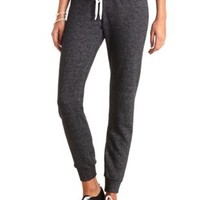 Contrast Drawstring Skinny Sweatpants by Charlotte Russe - Charcoal