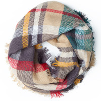 LE3NO Womens Plaid Fringe Trim Infinity Loop Woven Scarf