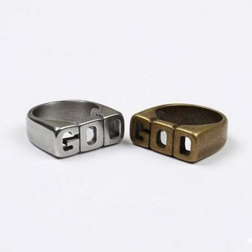 ONETOW G-Dragon' Simple Retro Unisex Ring Romantic Letter Couple Ring Little Finger Ring