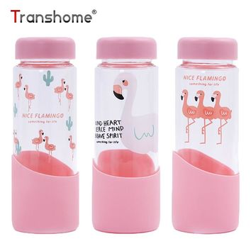 Pink Flamingo Glass Water Bottle