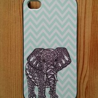 Tiffany Blue Chevron Elephant iPhone 4 Case - For iPhone 4 4S 4G