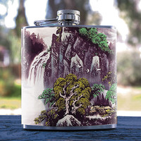 Asian Landscape, Best Hip Flask 6oz Japanese/Waterfall Style, for Gifts, Men/Women, Bridesmaid, Groomsmen, Weddings, Anniversaries & more!