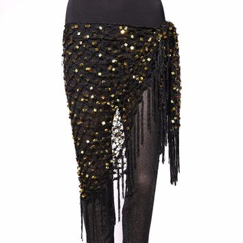 15 Colors Belly Dance Clothes Accessories Stretchy Crochet Net Shawl Triangle Belt Belly Dance Hip Scarf Square Sequins