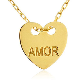 925 Sterling Silver Heart with Engraved Amor Pendant with an 18 Inch Link Necklace (sterling-silver)