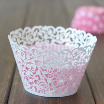 Hollow Out Flower Vine Cupcake Paper Wrappers Wraps Cases Muffin Cake Cup Wedding Birthday Party Decorations 12pcs Pack
