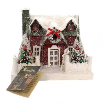 Christmas VINTAGE PUTZ CHRISTMAS HOUSE MD Paper Lighted Lc4588 Green