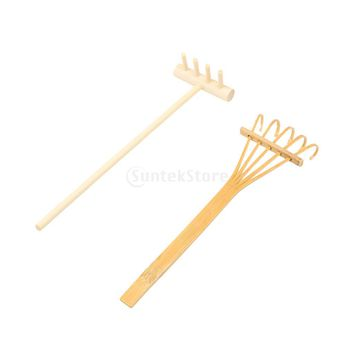 2PCS/SET Japanese Style Natural Bamboo Rakes for Zen Garden Sand Decor Yoga Meditation
