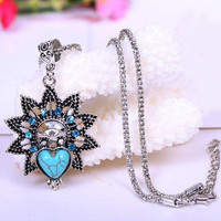Premier Vintage Necklace Turquoise Owl Eyes Design Jewelry Accessories Sliver Plated (Color: Silver) = 1695424196